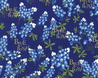 20 % off thru 5/31 BLUEBONNET PATCH Texas Wildflowers on navy blue Moda fabric  by the yard quilt cotton  bluebonnets WORDS 33311-15