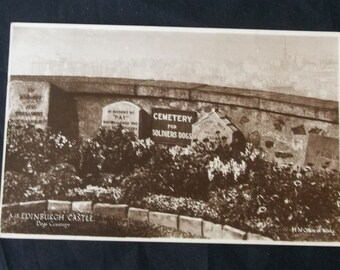 1937 Cemetery Soldiers Dogs Headstones Edinburgh Castle Real Photo Postcard RPPC