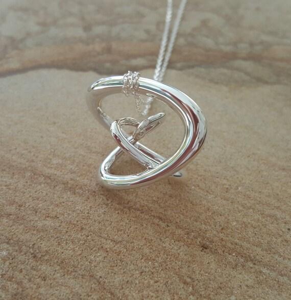 "3d Music Necklace - ""Gyre"" - Original Sterling Silver Pendant - Fifth Octave Harmony - Techniflow Soundstill Series"
