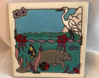 Handcrafted sealife ceramic trivet
