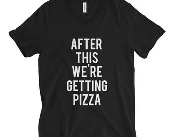 """RESERVED: 8 Custom T-shirts """"After This We're Getting Pizza"""" Black Shirt - Bridal Party Getting Ready Outfit - Bride robe"""