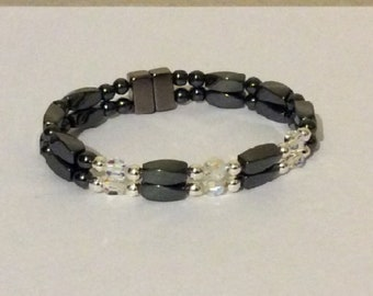 HIGH POWER 2 Strand Magnetic Hematite Bracelet with Swarovski Crystal