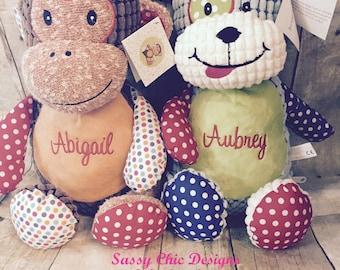 Personalized Cubbie/Birth Announcement Cubbie/Dog Cubbie/Monkey/Personalized Stuffed Animal/Alligator/Boutique Style Stuffed Animal/