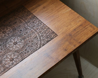 Engraved Walnut Coffee Table - Modern Wood Furniture Illustration BOHO Mid Century Eames Style