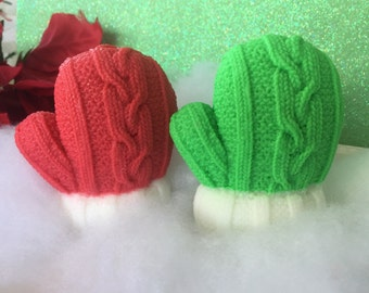 Christmas Mitten Soap - Winter Soap - Holiday Soap - Christmas Gift Soap - Stocking Stuffer - Sweater Weather - Gift for kids, teen, friend