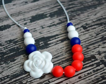 Silicone Teething Necklace, Red White and Blue, USA, Coastguard, America, Sensory Necklace, Baby Necklace, Chew Jewelry, Baby Shower Gift