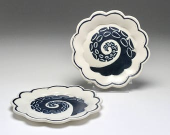Nautical theme plate, octopus tentacle, porcelain plate, black and white, ocean theme plate, side plate, dessert plate, sgraffito pottery,
