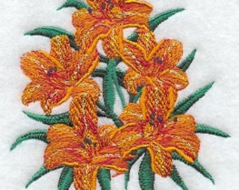 Day Lily Bunch Design Embroidered Flour Sack Hand/Dish Towel