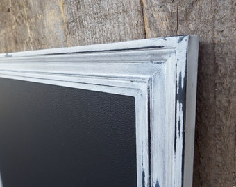 SET Magnetic Chalkboard Heavily Distressed White Black Vintage Style Frame -Magnetic Board - Magnetic Board Set - Magnet Set
