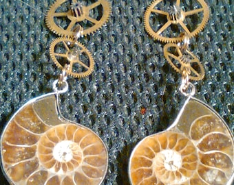 Steampunk Ammonite Fossil Earrings - NEW design  TrashionTeam, FunkyAlternativeJewelry, OlympiaEtsy, SupportingArtists, WWWG, CouchSurfing