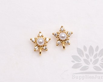 E252-G// Gold Plated Cubic Pearl Star Post Earring, 2pcs