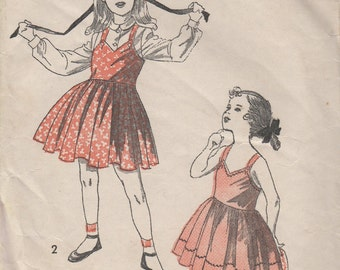 """Sz 6-1940's Girl's Sun Dress or Jumper and Blouse Advance 5236 Breast 24"""""""