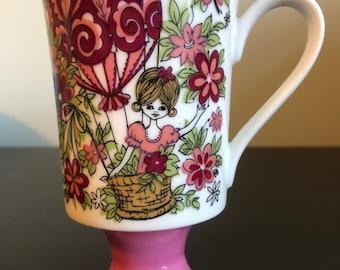 Pink Balloon Girl Vintage Pedestal Mug