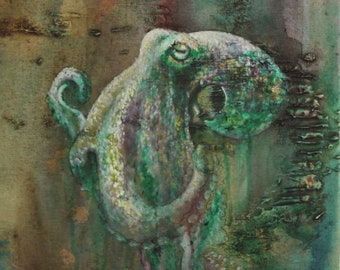 Art Card: Green and Copper Octopus