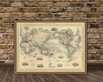 Map of the world - World map - Old map print -  Map reproduction -  Giclee fine art