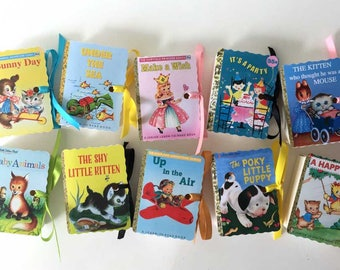 Little Golden Books Party Favors | Miniature Birthday Boy Girl Baby Shower |  Mini Book Poky Puppy Animals Wish Plane Fairy | Personalize 10