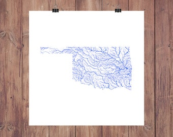 Oklahoma Map - High Res Map of Oklahoma Rivers / Oklahoma Print / Oklahoma Art / Oklahoma Decor / Oklahoma Gift / Oklahoma Decor / Sooners