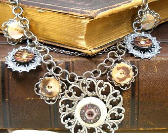 1800s BUTTON necklace, 8 Victorian mother-of-pearl buttons on silver. Antique button jewellery.