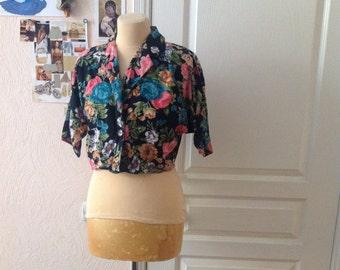 Floral Crop Top Botanical Short Sleeve Blazer Highlighted Waist Small Medium