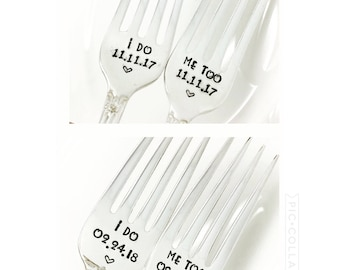 I Do Me Too Wedding Cake Forks with Date Engagement Gift Bridal Shower Gift Wedding Day Forks, New Condition,Cake Forks with Date