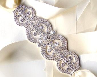 Sash - Rhinestone Encrusted Bridal Belt Sash - Satin Ribbon Tie - Silver and Crystal Extra Wide Wedding Dress Belt - Art Deco - Wedding Sash