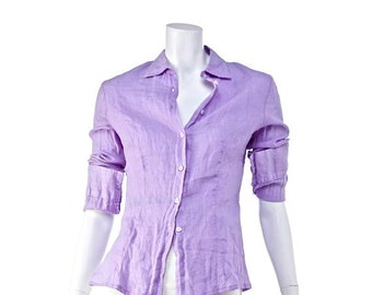 Vintage shirt made in Italy pur linen lilac color, size 4, perfect condition.