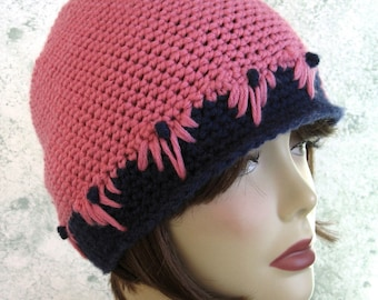 Crochet Hat Pattern Womens And Teen Cloche Style With Flower Trim Instant Download