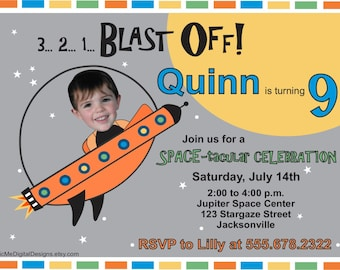 Space Invitation, Photo Spaceship Birthday Invitation, Space Birthday, Rocketship Birthday Invitation, Custom Photo Invitation, Birthday
