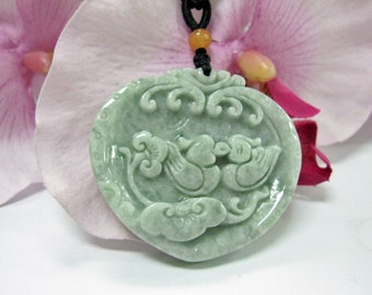Jade Mandarin Ducks 百年好合 Good Luck Charm Necklace