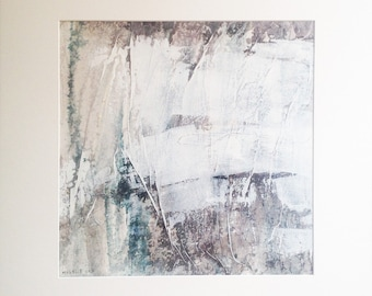 Ice landscape 3, ink and acrylic on canvas, original painting, abstract art