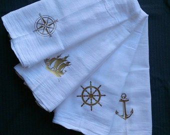 Nautical themed kitchen towels, bar towels, tea towels, gold vinyl on white, helm wheel, compass rose, anchor, sailing ship, gift set of 4