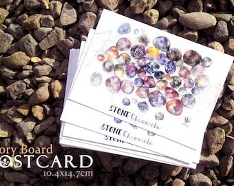 Watercolor Postcard, Stationery, Fine Art Print, Stone Chronicle, Stones, Rocks