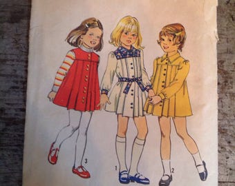 Vintage Simplicity Sewing Pattern 6584 Child's Dress Jumper Size 5