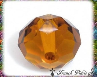 40 beads 10 mm glass crystal faceted color amber