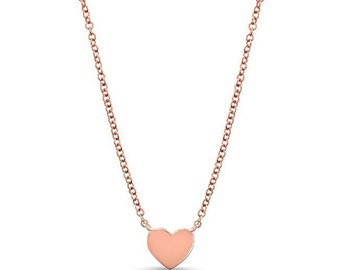 14 K rose gold heart necklace, rose gold heart, bridesmaids gift, personalize heart necklace