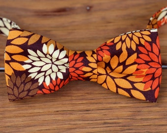 Boys Thanksgiving Bow Tie - boys fall floral mumm bowtie - childs brown cream orange bow tie - baby infant toddler child preteen boy bow tie