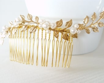 "Bridal hair comb vintage ""Olympus"" decorated with golden leaves and Swarovski Crystal beads"