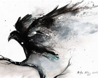 Bird art print, 8x12, 16x12, A4, A3, select size, canvas sheet, abstract raven w abstract wings