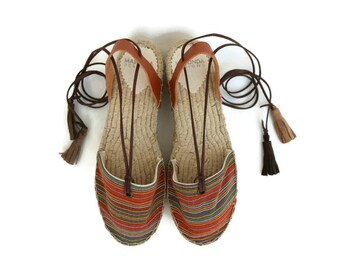 Espadrille Sandals. Lace up Espadrilles in Orange. Boho Women's Sandals. Hippie Greek Sandals. Gift for Women. Alpargatas. Handmade Shoes