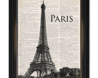 Eiffel Tower dictionary art print. Vintage photo Paris Cityscape print. A upcycled vintage landmark dictionary page print 8x10 inch.