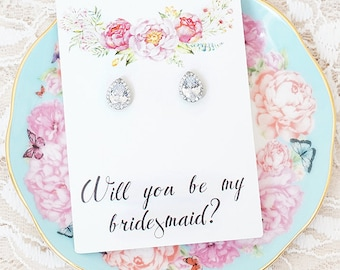 Will you be my bridesmaid earrings / Will you be my bridesmaid gift / Bridesmaid Proposal / Will You Be My Bridesmaid // Bridesmaid Gift