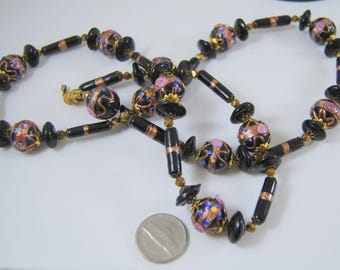 "Venetian Wedding Cake Glass Bead Necklace Black Glass Pink Roses Gold Aventurine 30"" Long"