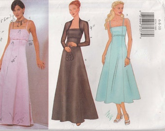 Long Dress Pattern Sleeveless Evening Length Flared Lined Formal Bridal Prom Uncut Size 6 - 10  Butterick 6534