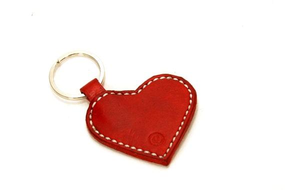 Personalized Heart Keychain, Leather Heart Keyring, Woman's Key chain, Custom Leather Keychain, Handmade Keychain