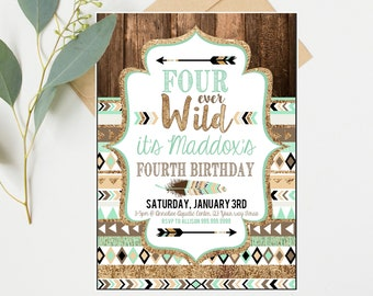 Boys 4th Birthday Invitations - Teal and Gold Boys - Fourth 4th Four ever Wild Birthday Party - Instant Digital Download