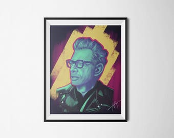 Jeff Goldblum Poster - Digital Illustration - Digital Print - Instant Download - Print from Home - Wall Decor - Wall Art - Printable