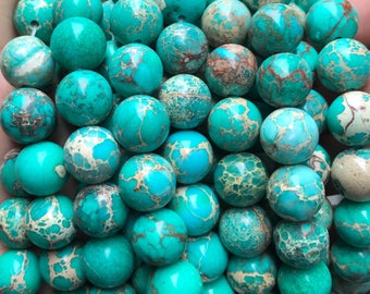 12mm impression jasper, large gemstone beads, green impression jasper, jasper beads, green beads, full strand,