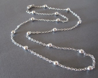 White Gold Ball Chain Necklace
