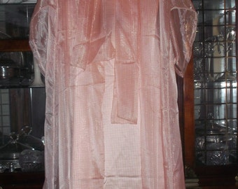 Coral Checkerboard Satin Gown & Chiffon Long Duster/with Scarf