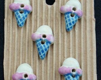 5 Ice Cream Cone Buttons